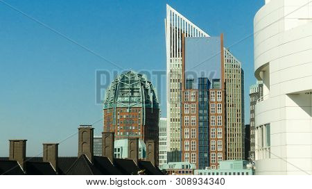 The Hague, The Netherlands - June 26 2019: Tall Buildings Of The Hague City Skyline On Sunny Day