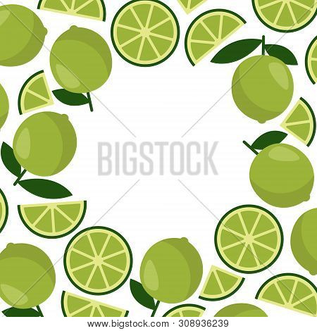 Abstract Lime Frame. Vector Drawing With Space Background. Holiday Decoration Element. Tropical Abst
