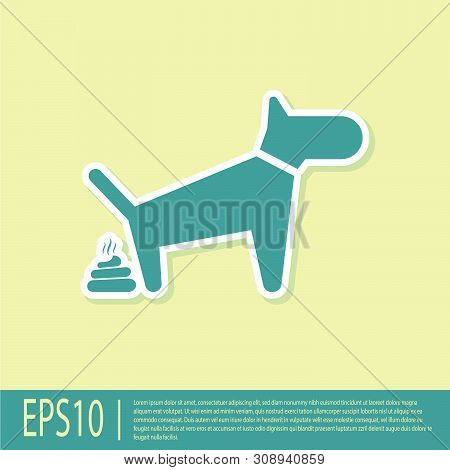 Green Dog Pooping Icon Isolated On Yellow Background. Dog Goes To The Toilet. Dog Defecates. The Con