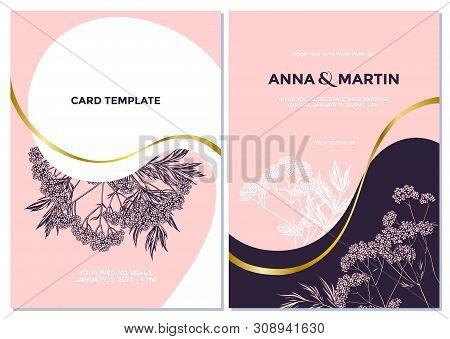 Wedding Invitation Card With Pink Valerian Stock Illustration