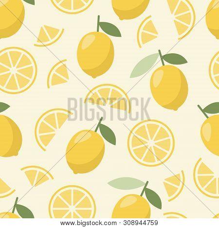 Pattern Of Lemon. Summer Color. Fashion Design For Print. Juicy Natural Fruit.
