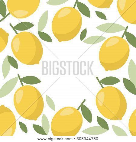 Lemon Frame, Great Design For Web, Print. Vector Vintage Illustration. Citrus Lemonade.