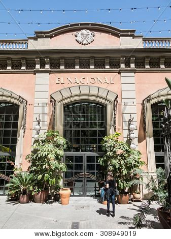 Barcelona, Spain - April 21, 2018: Entrance To The Historic Galleries