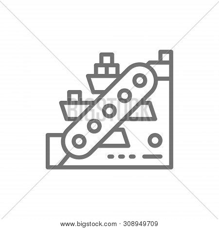 Vector metallurgy conveyor, mining industry line icon. poster