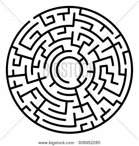 Maze Circle. Labyrinth. Maze Symbol. Isolated On White Backgroun