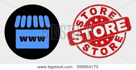 Rounded Webshop Icon And Store Seal Stamp. Red Rounded Distress Stamp With Store Caption. Blue Websh