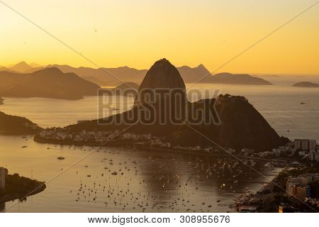 Dawn In The City Of Rio De Janeiro, Guanabara Bay And Sugar Loaf!  Observatory Dona Marta