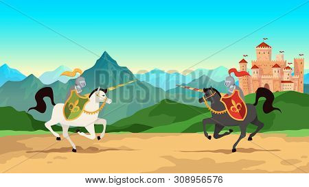 Knight Tournament. Battle Between Medieval Warriors In Metal Armour With Lance Weapons Riding Horses