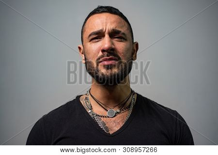 Suffer And Hope. Beard Care Of Unshaven Man. Macho Man Crying. Sexy Man With Tears On Face. Male Fas