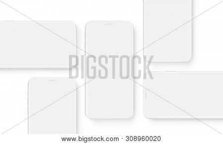 Clay Wireframe Mobile Phones With Blank Screens. Mockup To Showcasing Mobile Web-site Design Or Scre