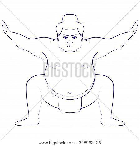 Sumo Wrestlerisolated Illustration Of Sumo Wrestler, Imitation Of Pen Drawing, White Background