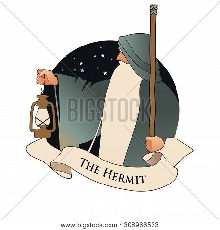 Major Arcana Emblem Tarot Card. The Hermit. Old man with a long beard, wearing a long hooded robe, leaning on a staff and illuminating his path with an old lamp, isolated on white background