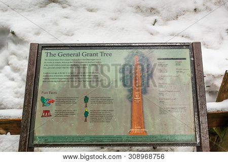 California, Usa - April 3, 2019: Information Sign In The Sequoia National Park In California. The Pa