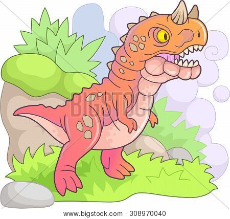 Cartoon Predatory Prehistoric Dinosaur Carnotaurus, Funny Illustration