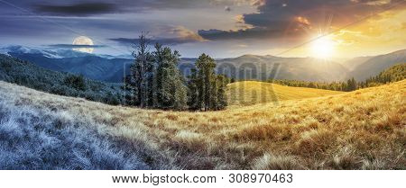 Night And Day Time Change Concept Above Panorama Of Mountain Landscape. Beech Trees On The Meadow Wi