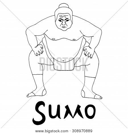 Isolated Illustration Of Sumo Wrestler, Black And White Drawing, White Background With Inscription S