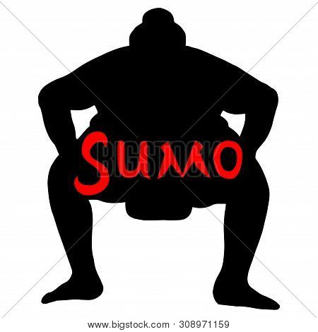 Isolated Illustration Of Sumo Wrestler, Silhouette Drawing, White Background With Red Inscription Su