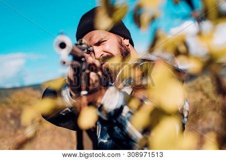 Hunting Gun. Hunter With Shotgun Gun On Hunt. Closed And Open Hunting Season