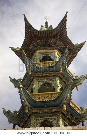Chinese Mosque with Chinese style pagoda Lanzhou Gansu Province China Uighur area poster