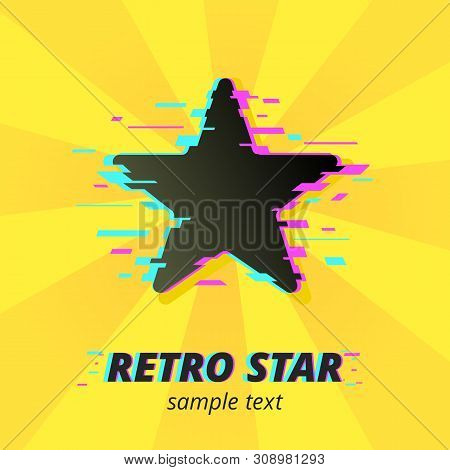 Star Icon Symbol In Mixed Pop Art And Glitch Style