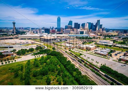 Aerial Drone View Above Modern Highways And Railroad Tracks In Dallas Texas Usa High Above Downtown