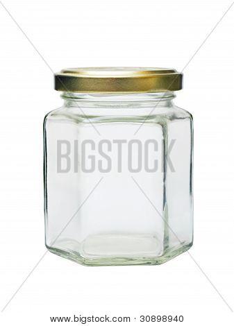 Empty Glass Jar With Metal Lid