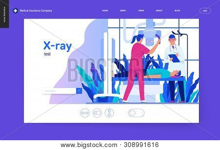 Medical Tests Blue Template - X-ray Test - Modern Flat Vector Concept Digital Illustration Of X-ray