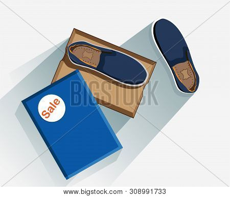 Shoe Moccasin In Box. Footgear. Fashion Footwear. Concept Vector Blue Moccasins Top View In A Cardbo