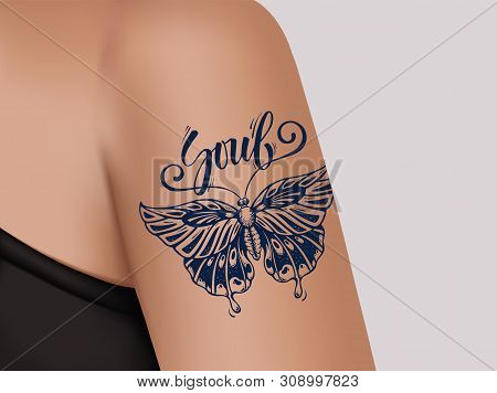 Butterfly Tattoo On Female Shoulder. Mystic Butterfly Tattoo With Calligraphy Soul. Template Of Bann