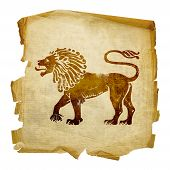 Lion Zodiac Icon, Isolated On White Background.
