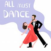 Banner happy young people dancing. All must dance dancing-party or latino studio poster. Flat Art Vector illustration poster