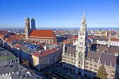 aerial of Munich with Marienplatz and Frauenkirche  in beautiful weather poster