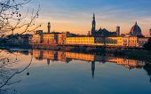 View over Arno river in Florence Firenze , Italy, at sunset poster