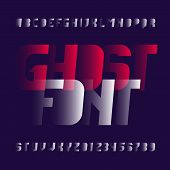 Abstract alphabet font. Modern oblique letters and numbers. Vector typescript for your design. poster