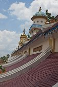 Roof of Cao Dai Temple in Tay Ninh near Ho Chi Minh City Saigon in Vietnam poster