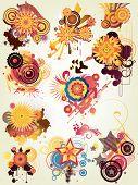 floral illustration drawing with grunge design elemnets poster