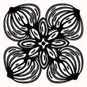 Ornamental folk art graphic design element. Hand drawn linocut block print style. Black folkloric clip art tile. Decorative line flourish motif outline. Arabesque tattoo symbol shape. Drawing sketch. poster