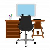 Isolated workstation image on a white background - Vector poster