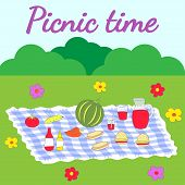Colorful illustration featuring a picnic setup composed of vegetables, fruits, and sandwiches and other food. poster