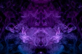 Abstract Fractal Background. Fantasy Blue, Purple  And Pink Smoke Abstract On Black Background.