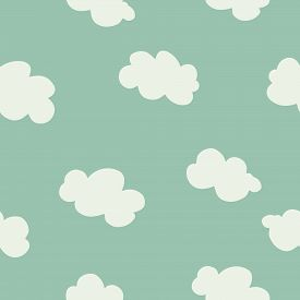 White Clouds On Blue Sky Seamless Pattern. Contemporary Minimal Repeat Vector Ornament