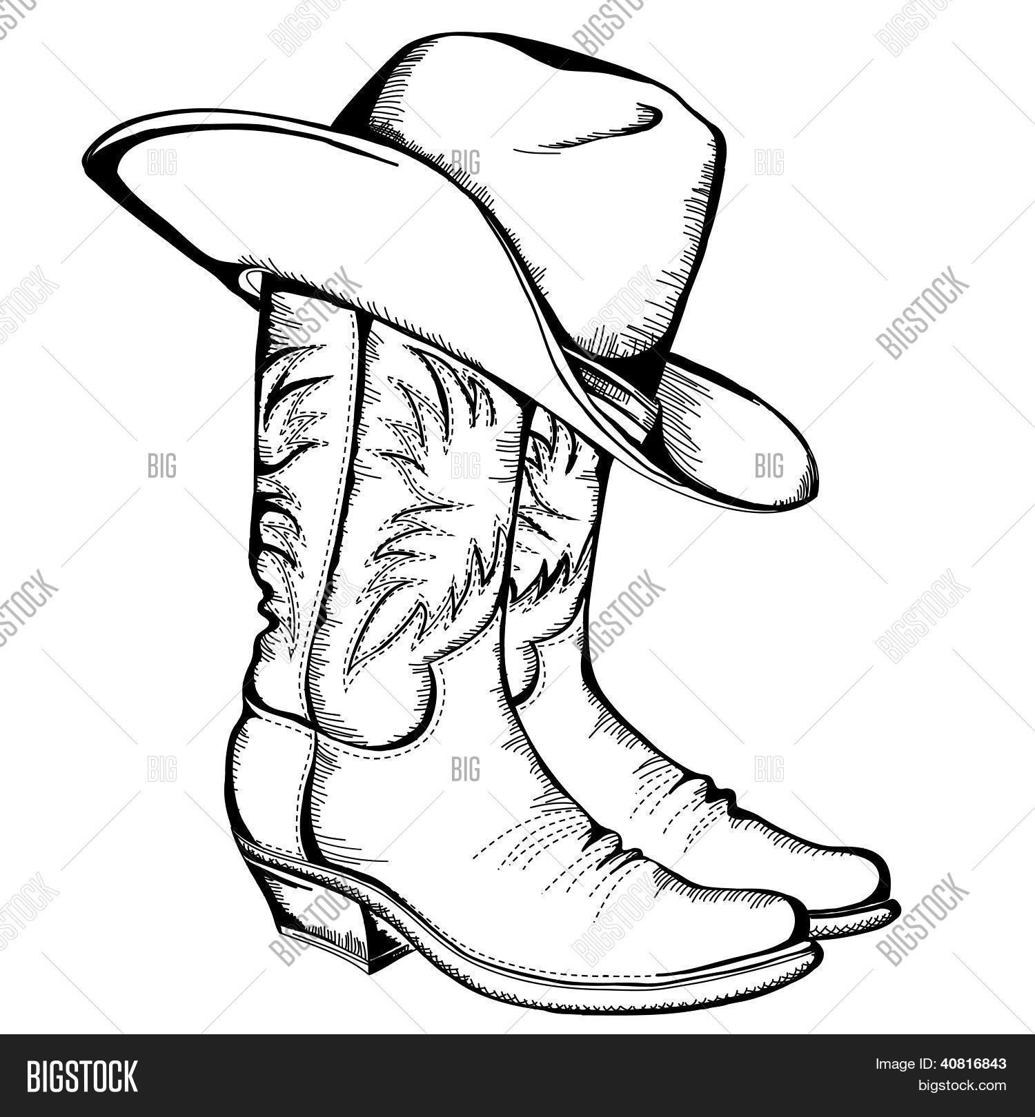 Botas vaqueras y sombrero.Ilustración gráfica de Vector be758a415fb