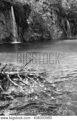 Grayscale. Summer View Of Beautiful Small Waterfalls And  Trunk Of Dry Tree At The Lake Bottom (plit
