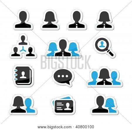 Businessman businesswoman user vector icons set
