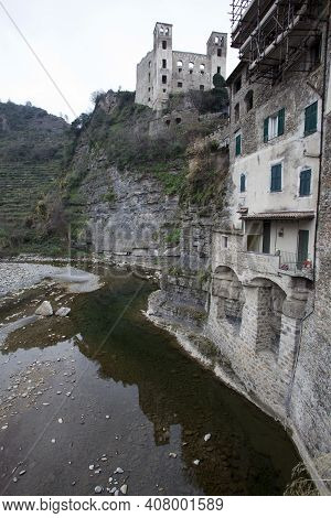Dolceacqua (im), Italy - December 19, 2017: View Of An Old House In Dolceacqua Village, Imperia, Lig