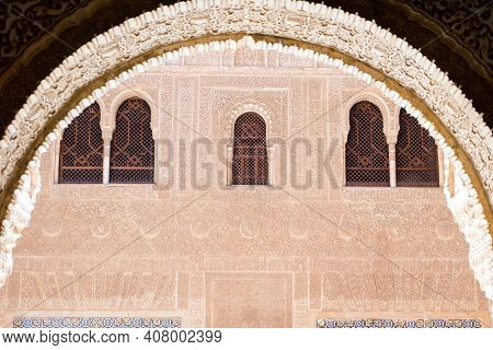 Granada,spain-august 12, 2017:particular Of The Famous Alhambra In Granada During A Sunny Day.