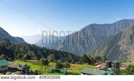 Landscape In The Mountains, Lukla Airport Viewpoint, Everest Base Camp Trek, Trekking In The Himalay