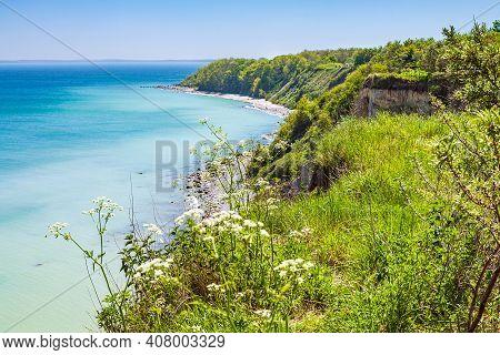 Cliff On The Baltic Sea Coast On The Island Ruegen, Germany.