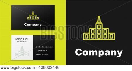 Logotype Line City Landscape Icon Isolated On Black Background. Metropolis Architecture Panoramic La