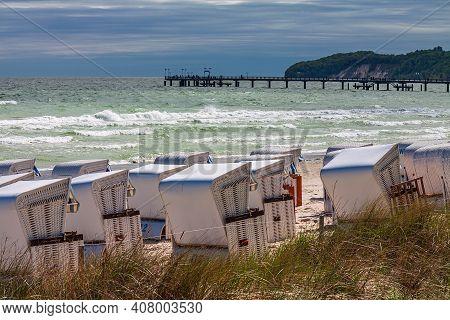 Pier On The Baltic Sea Coast In Binz On The Island Ruegen, Germany.